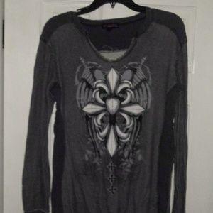 Gray frayed edged shirt
